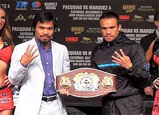 by Geoffrey Ciani - When Manny Pacquiao (54-4-2, 38 KOs) squares off against Juan Manuel Marquez (54-6-1, 39 KOs) for a fourth time this Saturday, boxing fans already have a fairly good idea of what to expect. After all, even though Pacquiao officially has two victories and a draw against Marquez, these two have essentially battled to a stalemate after thirty-six rounds of action. If their past three encounters are any indication, there is little reason to believe things will unfold much differently in this fourth installment. The natural order of these clashing styles seemingly demands a fierce and competitive contest, and there is a strong likelihood this will yet again prove true on Saturday.