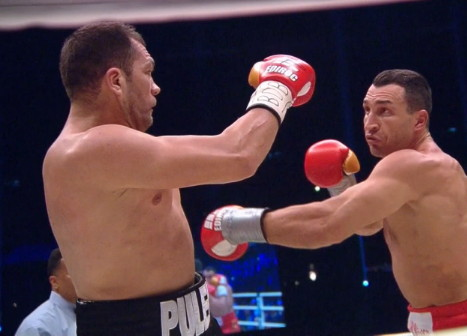 Klitschko vs. Pulev, Kubrat Pulev, Wladimir Klitschko - Bulgarian challenger Kubrat Pulev (20-1, 11 KOs) proved to be too weak in the chin tonight in getting stopped in the 5th round by IBF/IBO/WBA/WBO heavyweight champion Wladimir Klitschko (63-3, 53 KOs) at the O2 Arena in Hamburg, Germany.